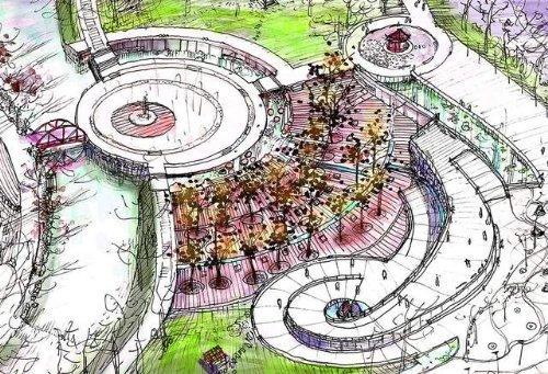 淡彩广场景观俯视图-手绘100网 最大最专业手绘网站 手绘图片库 手绘